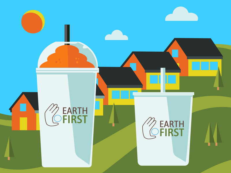 Summer Cold Cups slurpee sun summer flat illustration biodegradable eco-friendly