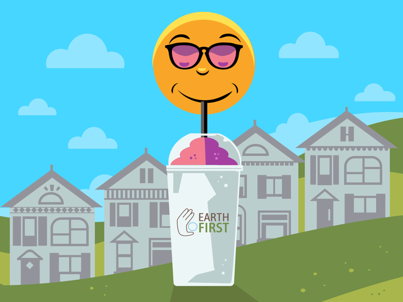 Thirsty Sun for Earth First cold cup ice cold drink slurpee row houses houses eco-friendly flat illustration recycle