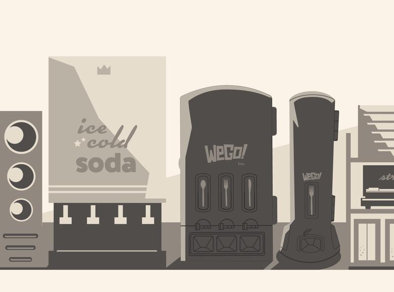 WeGo! Drink Station (Retro Color) restaurant supply restaurant cups soda vending machine flatdesign