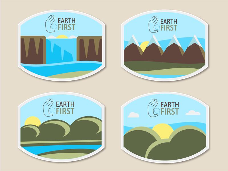 Earth First Labels product label flat illustration eco-friendly biodegradable waterfall mountains nature