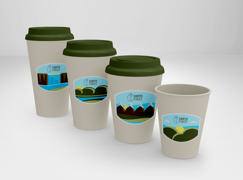 Earth First Hot Cups coffee cups flat illustration eco-friendly biodegradable nature hot cups