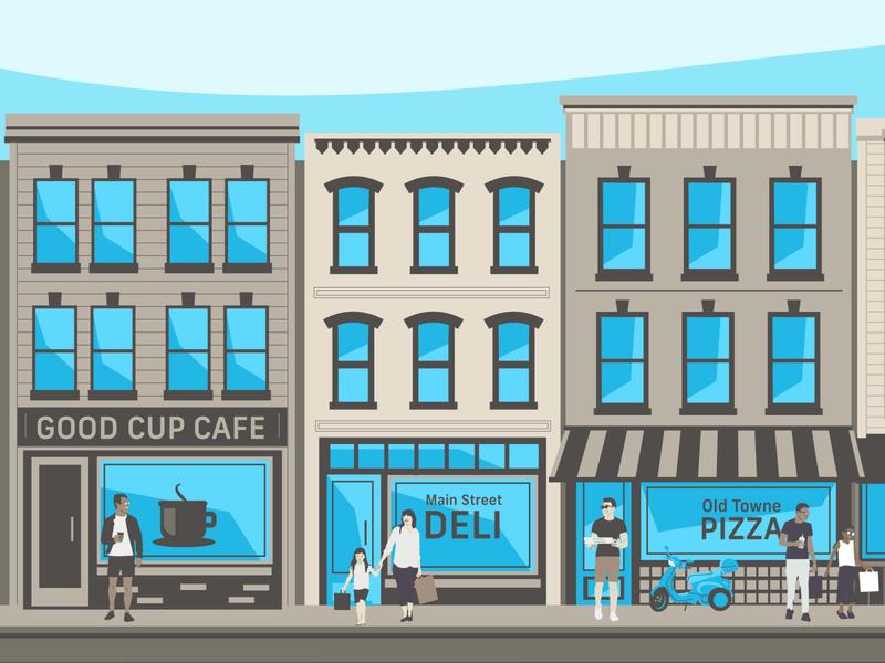 Main Street (left side) restaurants man flat illustration buildings vespa people town city street