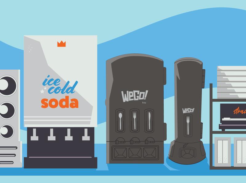 WeGo! Drink Station (Bright Color) restaurant napkins soda fountain cups straws vending machine