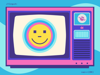 >OK Telly purple pink javascript smileys bright colors television telly