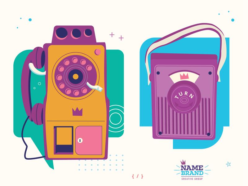 Vintage Comms communications flat illustration brand graphic play radio radio pay phone