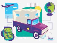 Well-Traveled travel truck backpack jet airliner globe camper