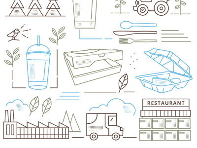 Brand Illustration restaurant recycle biodegradable eco-friendly