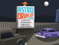 Astro Drive In (remix) handlettering old cars night drive in movie