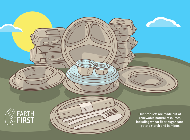 Product Illustration for Earth First (update) restaurant recycle biodegradable eco-friendly