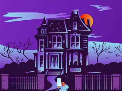 Trick or Treater purple haunted house blood moon scary ghost halloween trick or treat trick-or-treat
