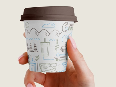 Small Coffee for Earth First recycle biodegradable eco-friendly coffee cup
