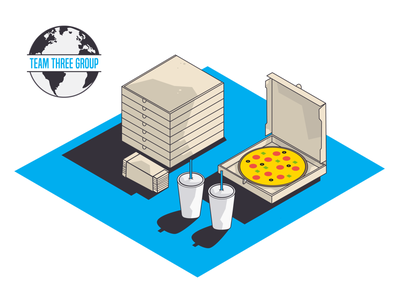 Restaurant Supplies for Team Three Group isometric illustration cold cups to-go brand graphic restaurant supply napkins cup pizza box pizza