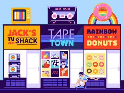 Strip Mall retail store skateboarding skater television rainbow donuts cassettes 1980s strip mall