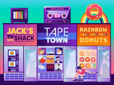 Strip Mall (re-mix) asia journey def leppard men at work new wave skater skateboard cassette tape tapes donuts tv