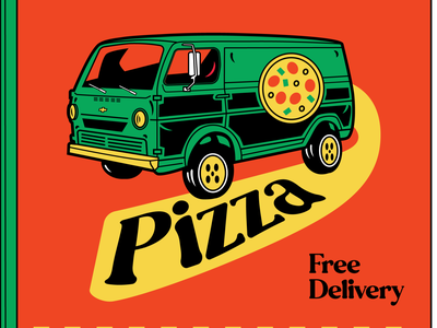 Pizza Box (Free Delivery) Orange van restaurant supply restaurant pizza pizza box