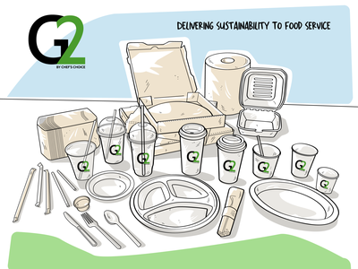 G2 Tradeshow Graphic recycle eco-friendly biodegradable to go containers cold cup template restaurant tradeshow