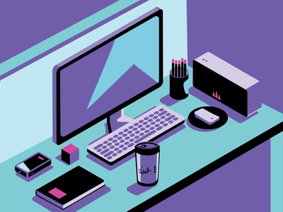Desktop isometric illustration office phone coffee mouse computer desktop