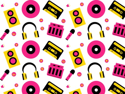 Music Pattern pattern design microphone headphones keyboard icons music