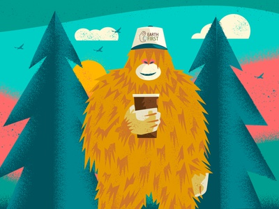 Big Foot with Hot Coffee monster sasquatch bigfoot restaurant supply recycle pizza biodegradable eco-friendly