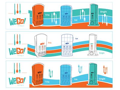 WeGo! LinkedIn Banners (Vector Art Version) social media banner design flat illustration restaurant supply restaurant vending machine