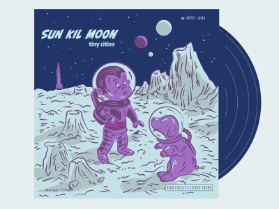 Sun Kil Moon Record Cover cartoon record art sci-fi outer-space puppy space dog space monkey vinyl