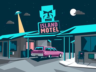 Island Motel starry sky vacation night ufo station wagon tiki motel