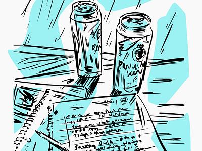 Notebooks (detail) blue tallboy beer beer digital ink pen notebook
