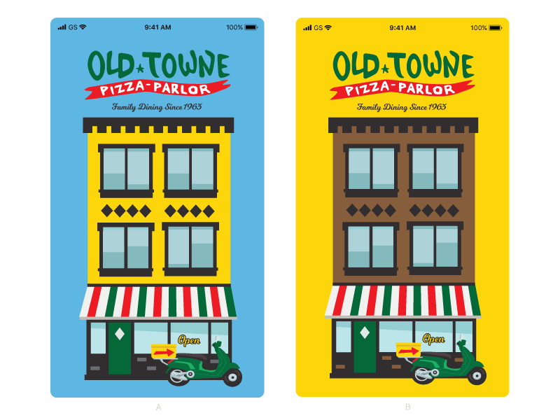 Revised Old Towne Pizza Parlor Ordering App Load Screen hand-drawn logotype red blue green yellow loading screen ui app building vespa pizza