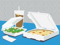 Personal Pizza, Salad, Ice Tea
