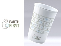 Earth First Logo and Cup Design (Clean Lines Version)