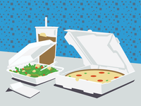 Personal Pizza, Salad, Ice Tea (Re-mix)