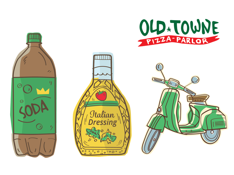 Old Towne Pizza Parlor Spot Illustrations comic style brush line spot art salad dressing 2 liter soda vespa