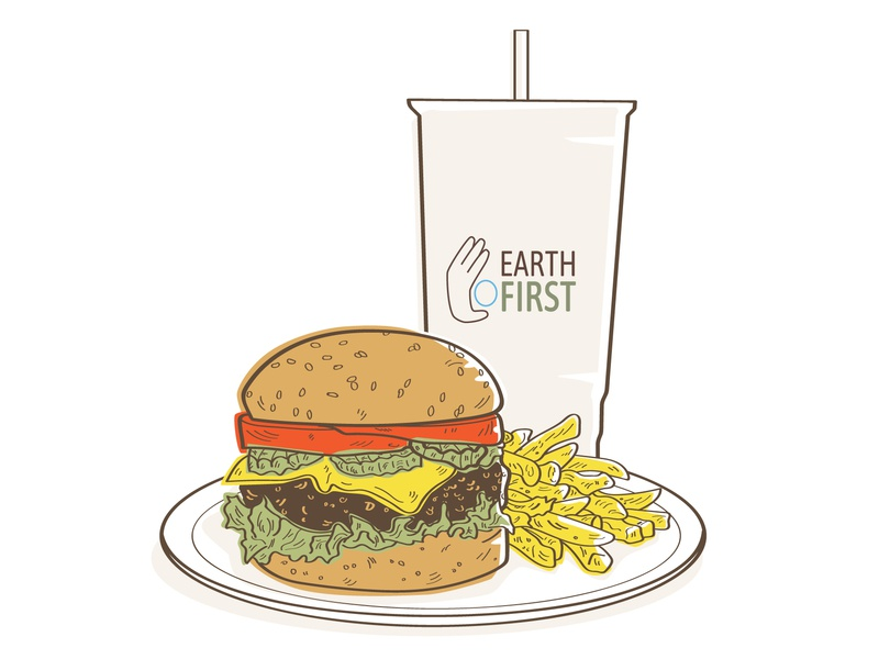 Cheesburger, French Fries and 32 oz Drink fast food straw cup take out french fries burger cheese cheeseburger eco friendly