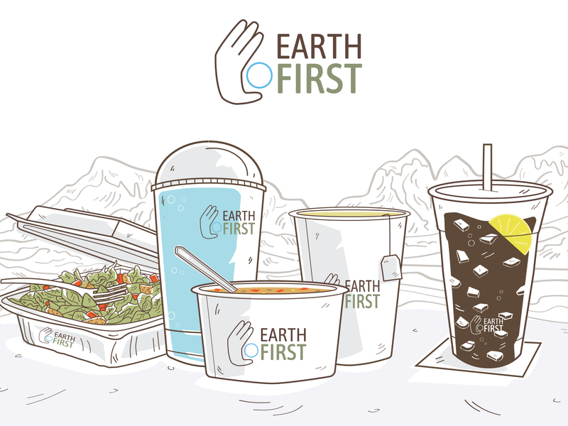 Branding Tile (Eco Friendly Packaging) ecofriendly mountians soup cold cup hot cup cup salad branding