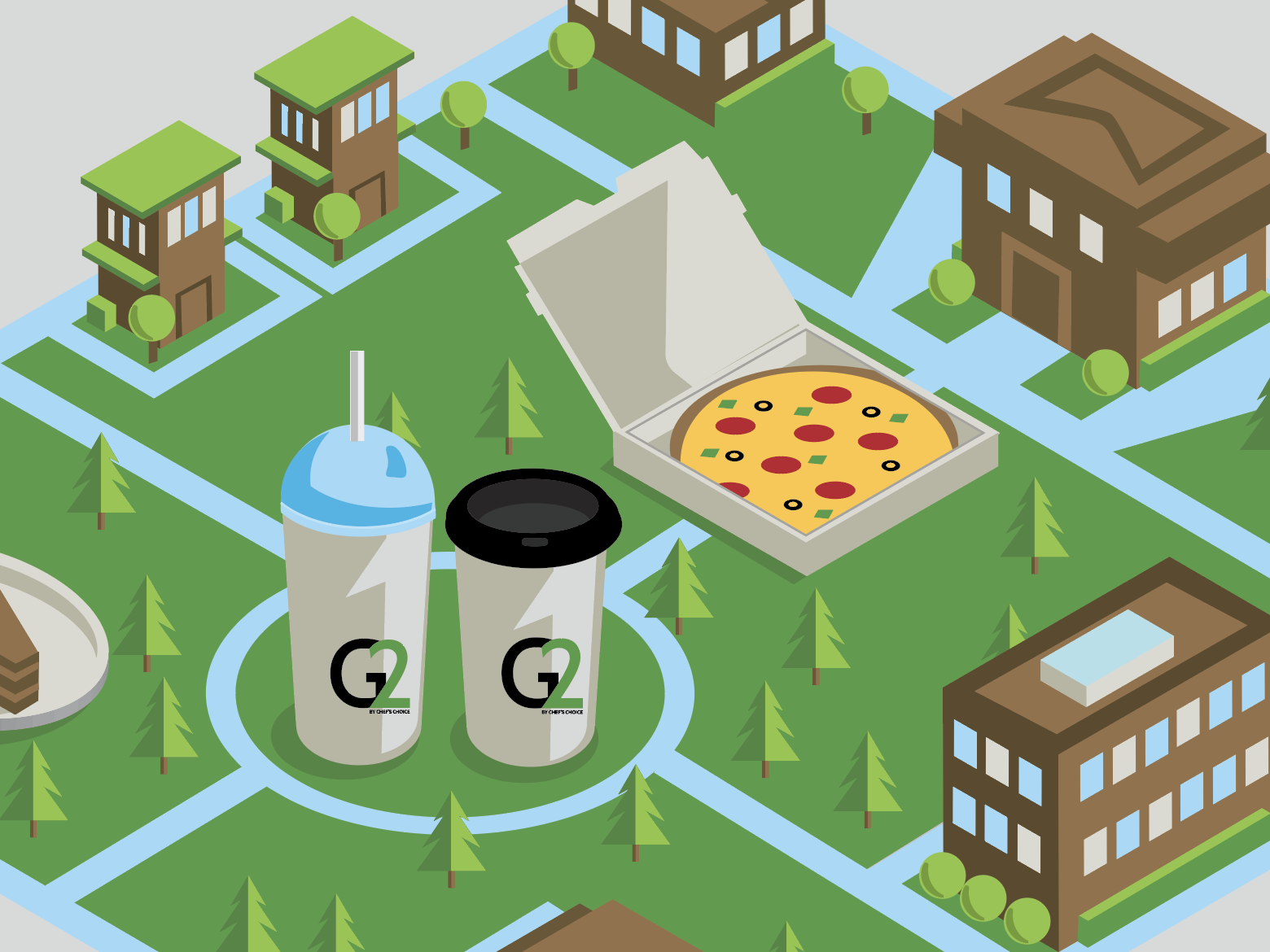 G2 ISO Graphic (update detail) eco friendly coffee town trees grass slurpee iso building cup pizza