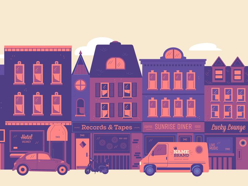 City Street (Upgrade) purple buildings flat style diner record shop hotel vespa volkswagen bug van city