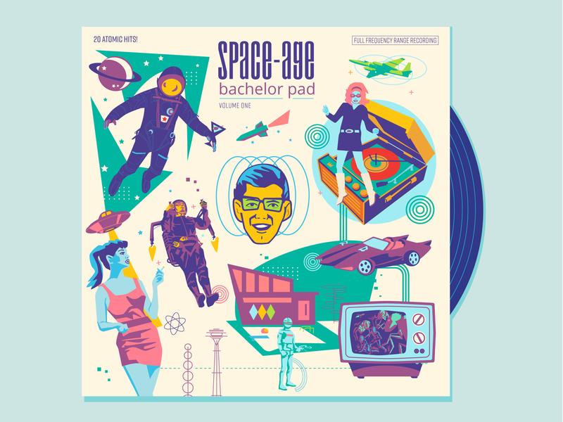 Space-Age Bachelor Pad (volume one) sci-fi science fiction planet go go dancer u2 spy plane robot modern monster old tv jet pack cosmonaut astronaut rocket space-age retro vinyl record