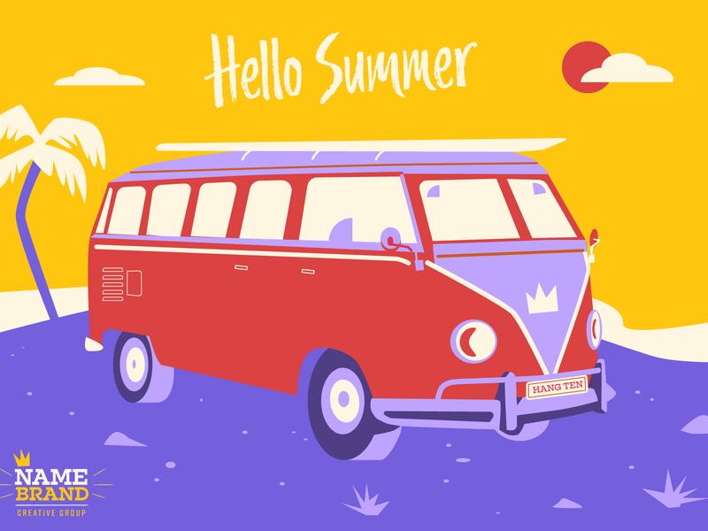 Hello Summer (Hot Mix) summer surf van volkswagen beach palm tree