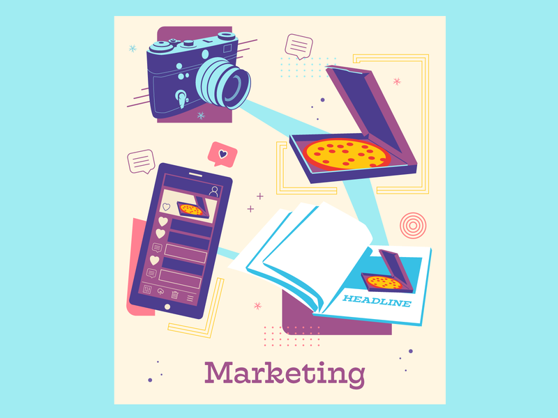 Marketing Web Tile social mobile marketing magazine camera pizza iphone