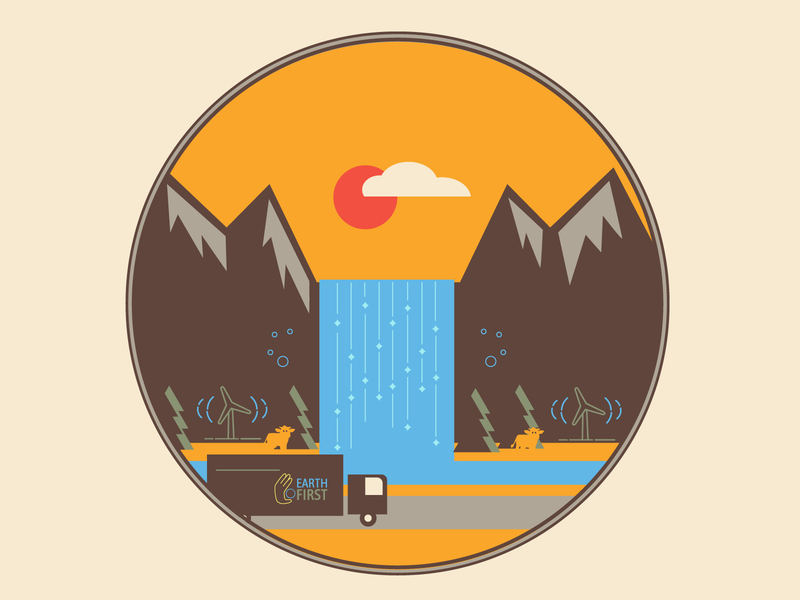 Earth First Social Graphic orange badge logo nature recycling eco-friendly truck waterfall
