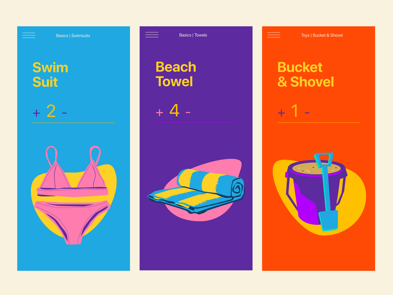 Beach Checklist Screens uidesign bikini bucket beach towel beach