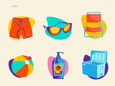 Beach Icon Set ui icons chair beachball beach sunblock cooler sunglasses trunks