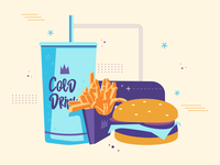Burger, Fries & Cold Drink