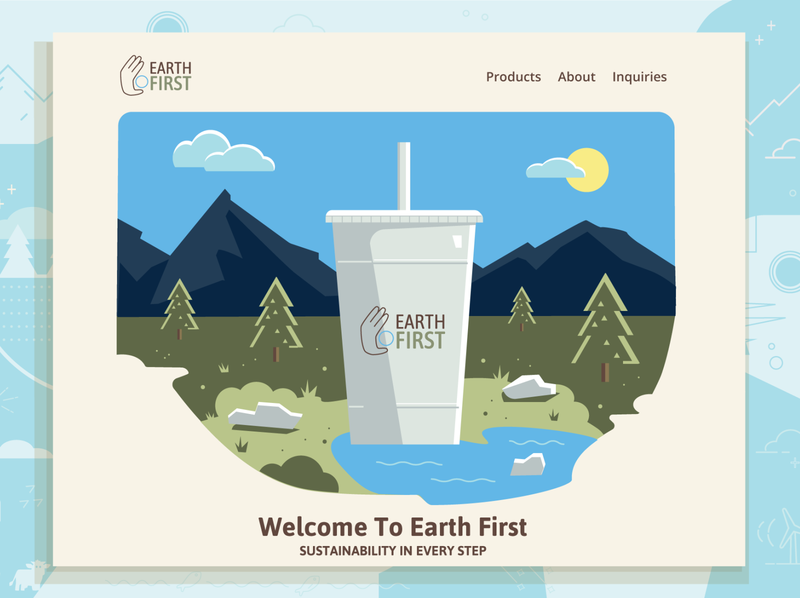 Home Page Concept website design biodegradable to-go packaging cold cup nature recycling sustainability earth