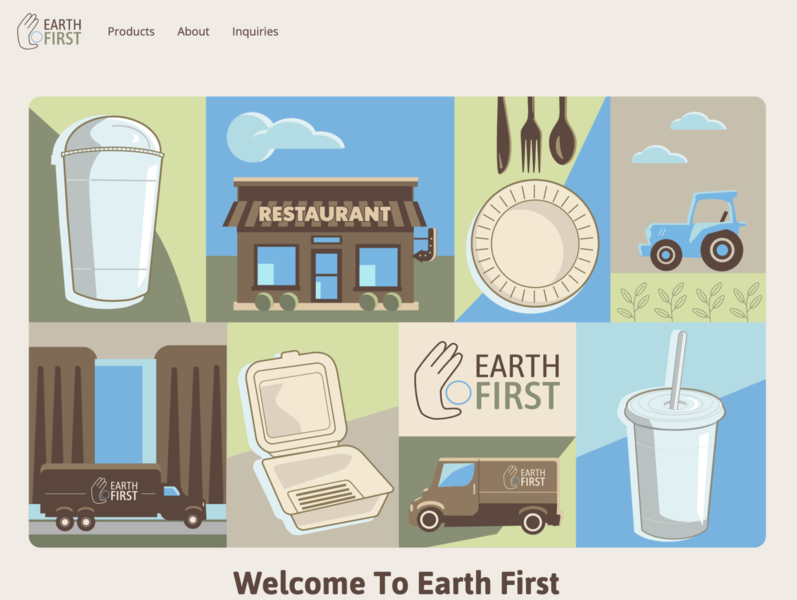 Welcome Page For Earth First cold cup plate tractor restaurant supply restaurant earth shipping recycle biodegradable eco-friendly