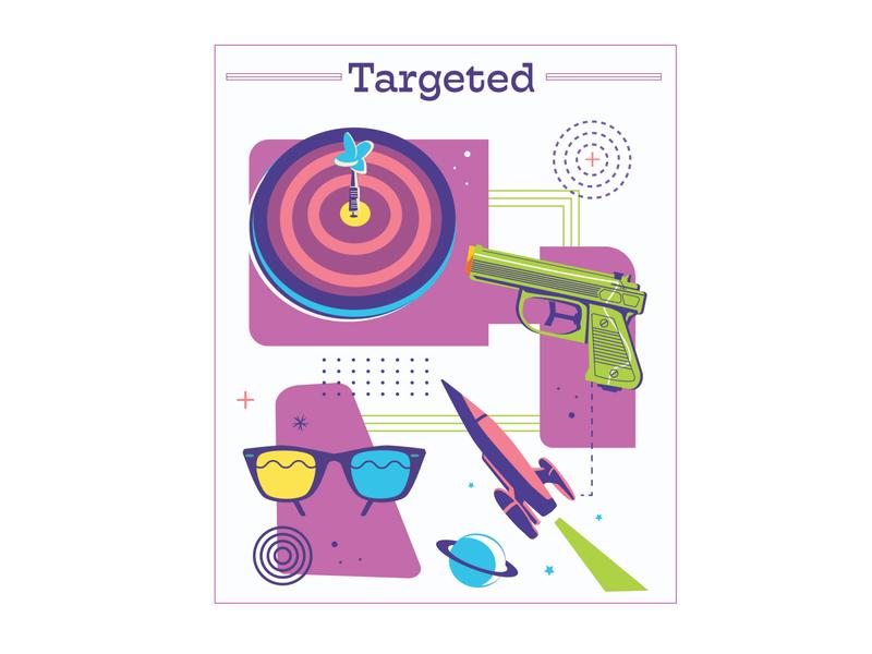 Targeted (UI Card) card design user interface planet rocket watergun water pistol target