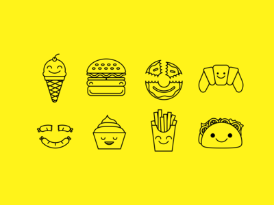 Day 055 : Icon Set - Happy Food - Daily UI challenge