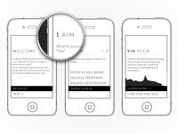 Clean & minimal yoga app wireframe