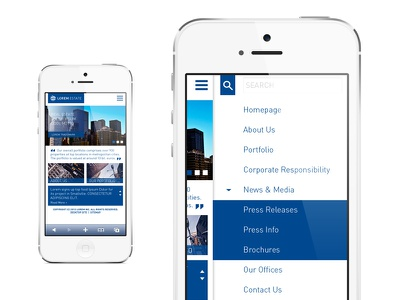 Real estate company mobile site mockup mobile web real estate retail blue white grid metro clean corporate blocks ui dashboard menu side menu dropdown din news feed search bar