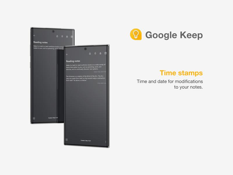 Google Keep Time stamps app design ui ux